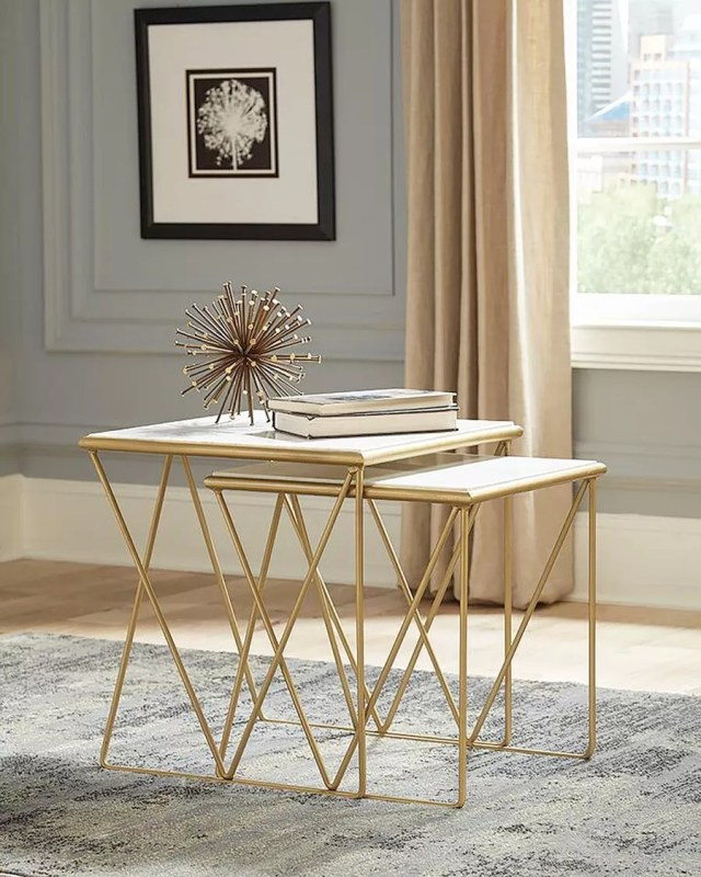 Luxe nesting tables. Photo by Instagram user @shopsetthestage