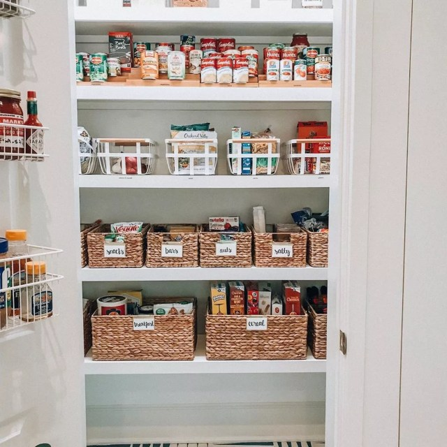 Organized pantry with labeled bins. Photo by Instagram user @organizedlifedesign