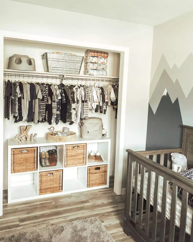 Baby room with closet doors removed from closet. Photo by Instagram user @ashleemarieplus3