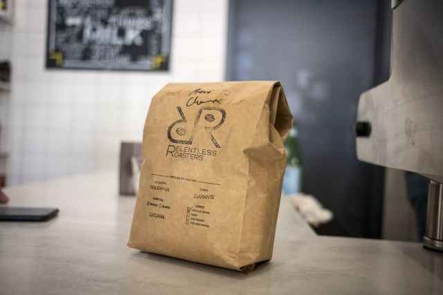 Bag of Coffee Beans from Relentless Coffee Roasters
