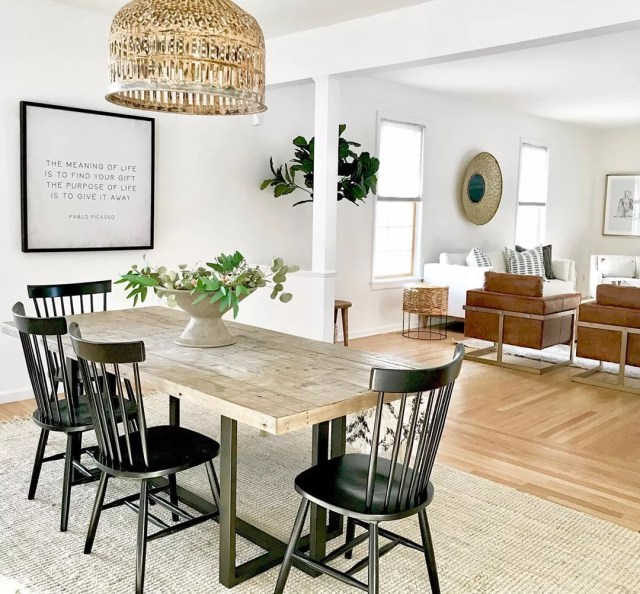 Open space dining room and living room. Photo by Instagram user @indigozhome