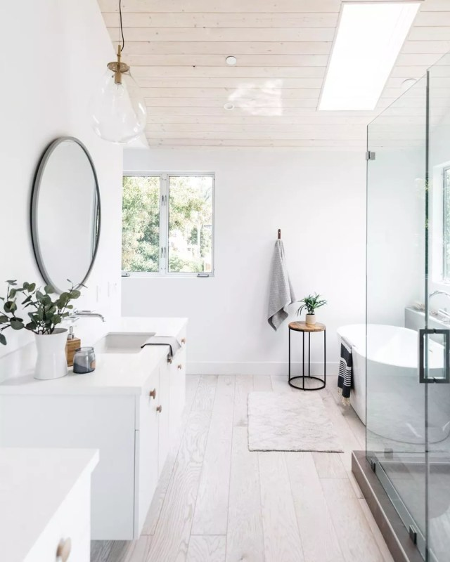 White bathroom remodel. Photo by Instagram user @christopherleefoto