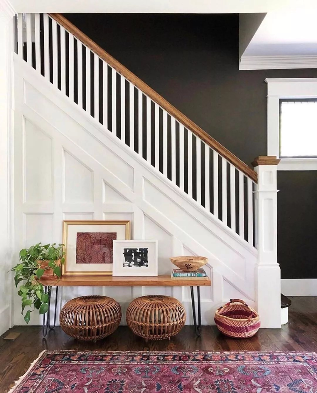 Staged entryway near stairs. Photo by Instagram user @staged4more
