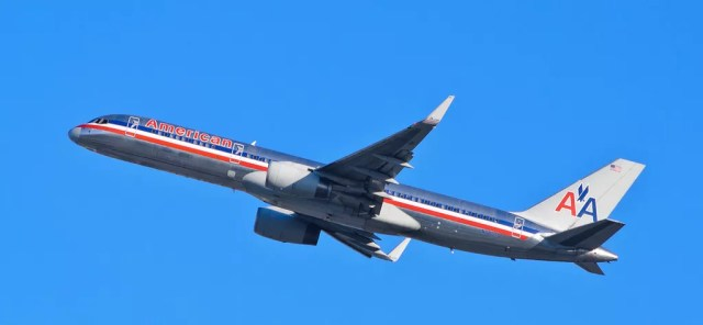 American Airlines plane in sky