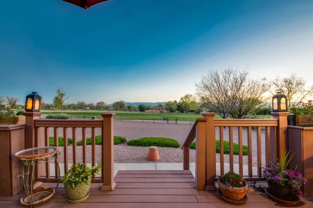 Professional real estate photo of porch and yard taken by SoCo Home Photography