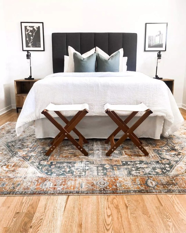 Staged contemporary bedroom. Photo by Instagram user @sagewoodinteriors