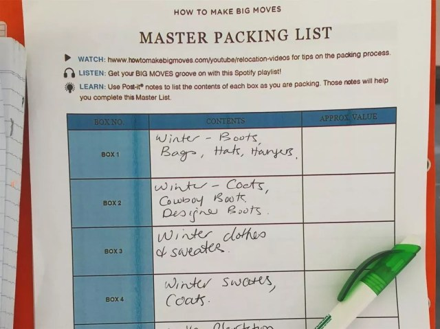 Example of master packing list for moving. Photo by Instagram user @howtomakebigmoves