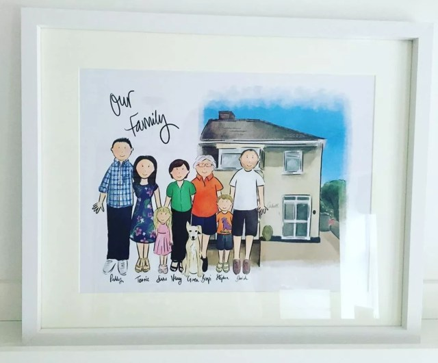 Family painting with old house. Photo by Instagram user @leoandblakedesigns