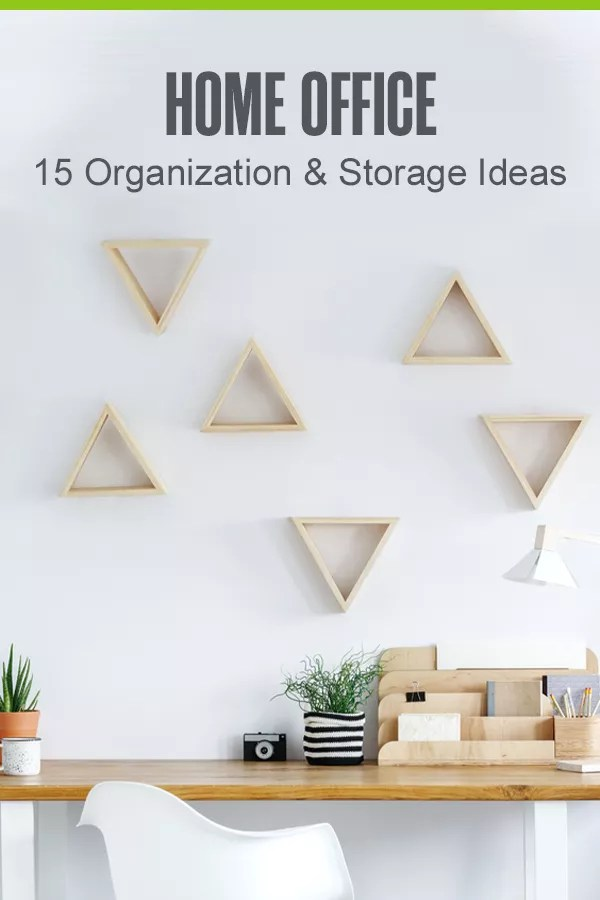Pinterest Graphic: Home Office: 15 Organization & Storage Ideas