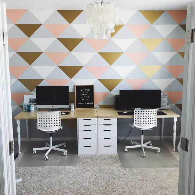 Shared Office Space with Two Desks and Computers with Nicely Painted Wall. Photo by Instagram user @bethanyjackman