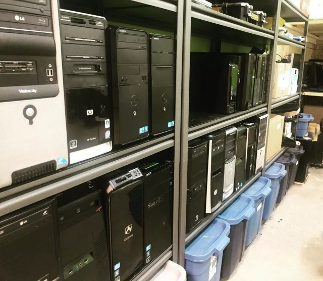 Rows of donated electronics. Photo by Instagram user @pupyeg