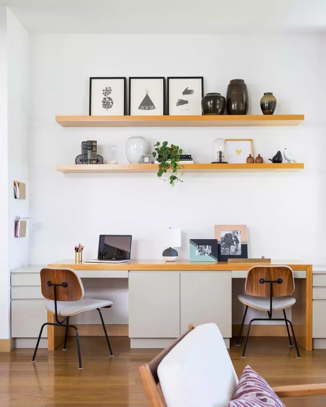 two person desk with filing cabinets all around photo by Instagram user @amybartlam