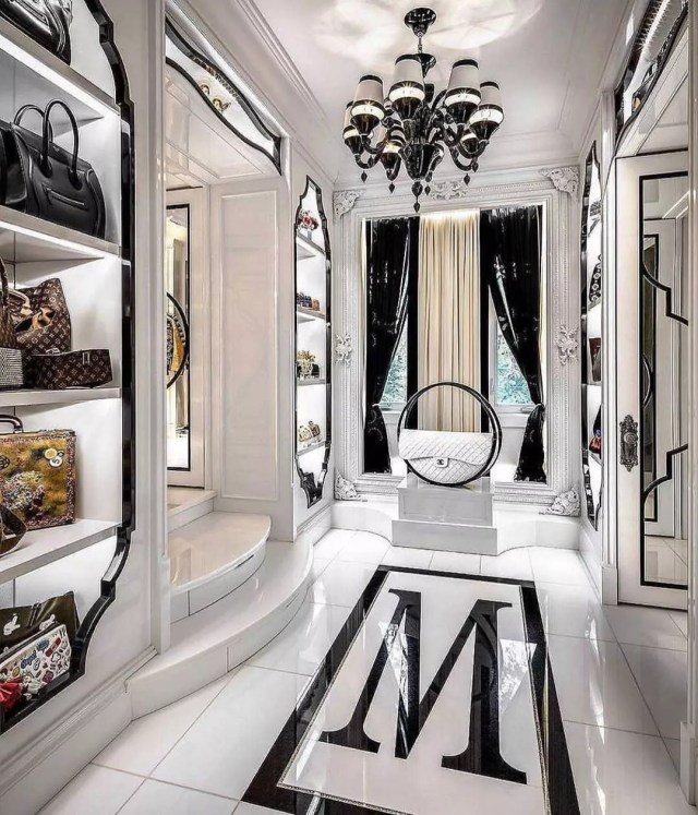 Black and white luxury closet. Photo by Instagram user @mastersofluxury_