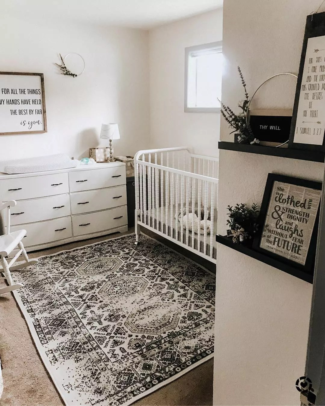 Baby Room with White Carpet and Giant Rug under Crib. Photo by Instagram user @driving_miss_macey