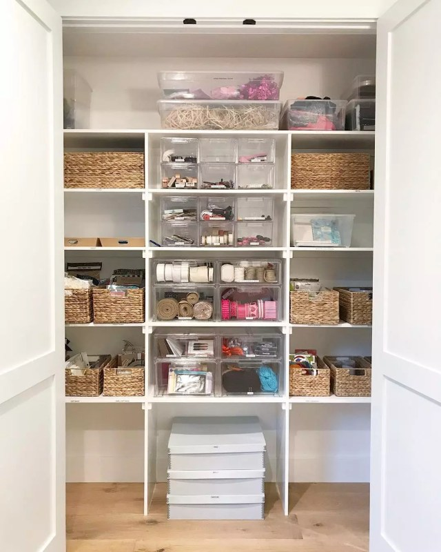 Office Closet Neatly Organized with Baskets, Shelves, and Tubs. Photo by Instagram user @simplyorganized