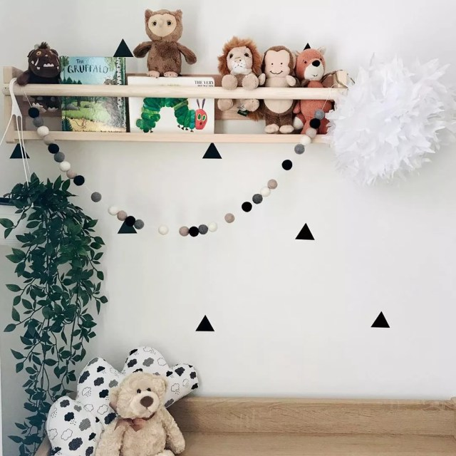 Stuffed Animals Stored on High Shelf in Kids Room. Photo by Instagram user @picture_of_a_house