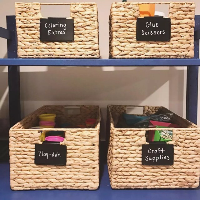Storage bins in craft room. Photo by Instagram user @simplify_in_style