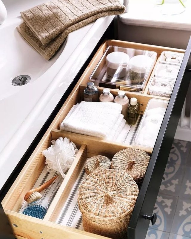 Drawer Storing Bathroom Supplies. Photo by Instagram user @glasshouseintl