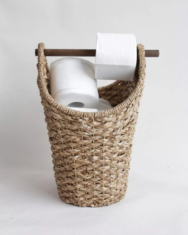 Braided Toilet Paper Basket. Photo by Instagram user @antiquefarmhouse