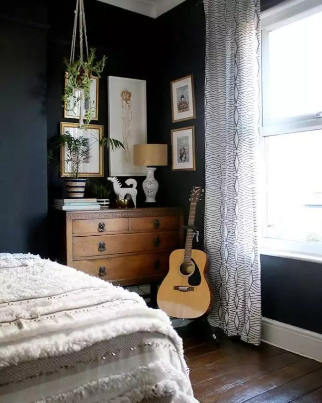 Dresser and Guitar in Corner of Bedroom. Photo by Instagram user @swoonworthyblog