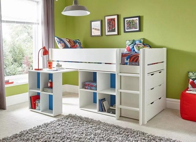 Kids Bunk Bed with Desk and Storage Shelves. Photo by Instagram user @tiurliwoodkids