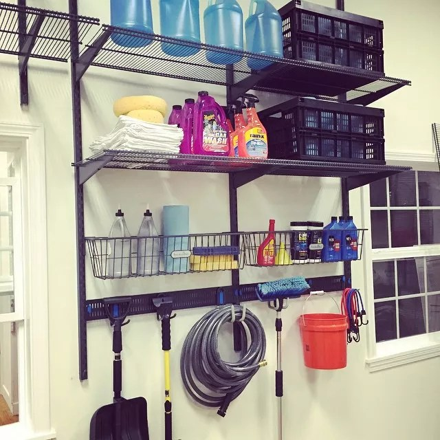 Garage Shelving with Car Care Equipment and Supplies. Photo by Instagram user @organizedliving