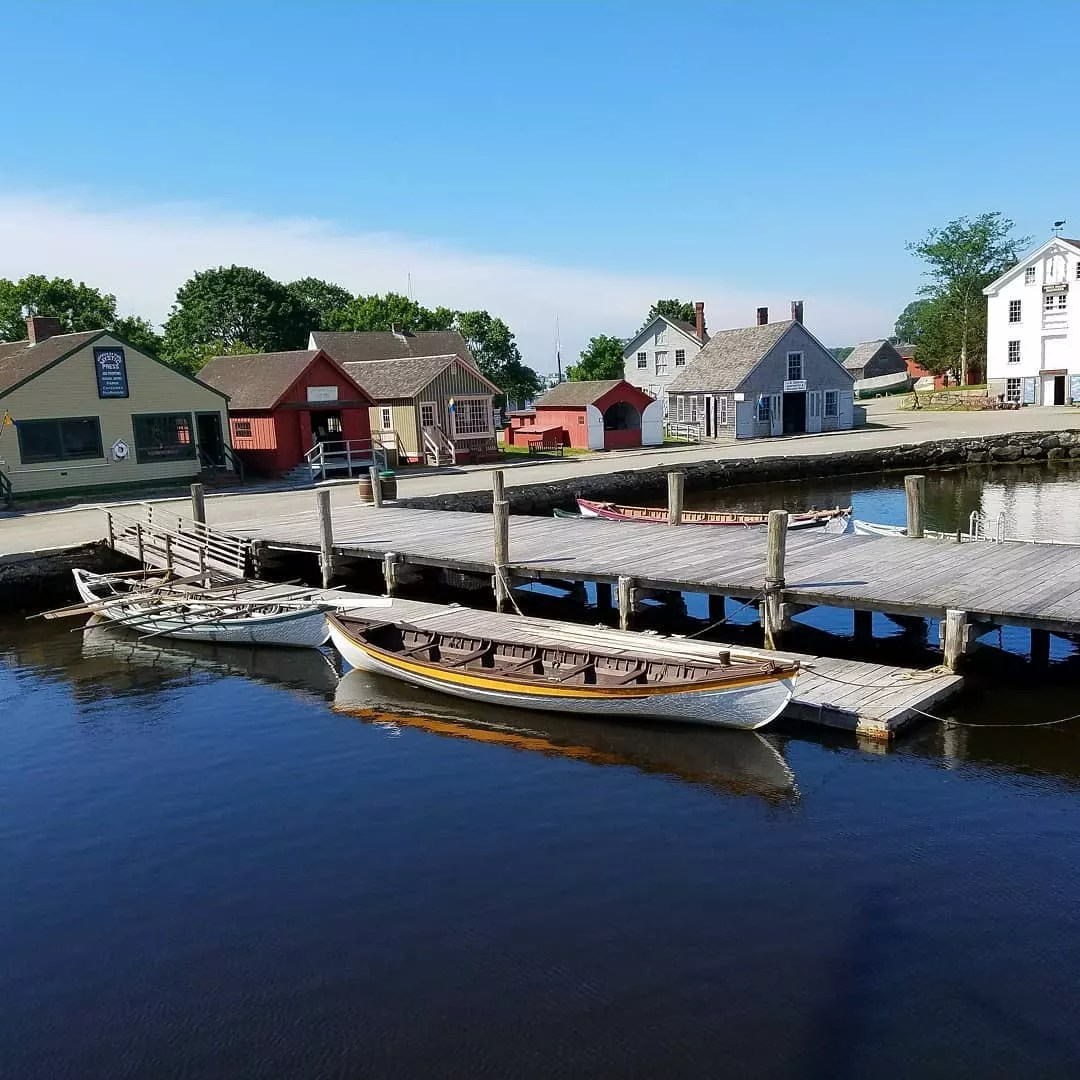 Rowboats Near a Town Dock in Mystic, CT. Photo by Instagram user @sinisterfreedom