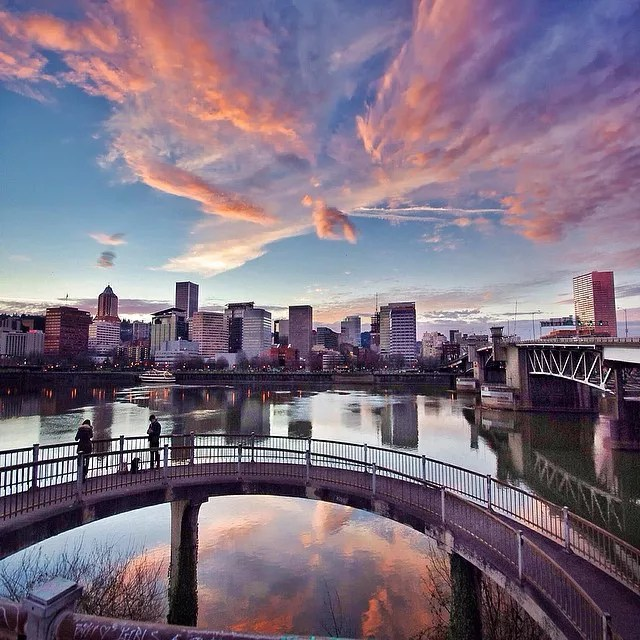 Sunset View of the Downtown Portland Skyline. Photo by Instagram user @gemini_digitized