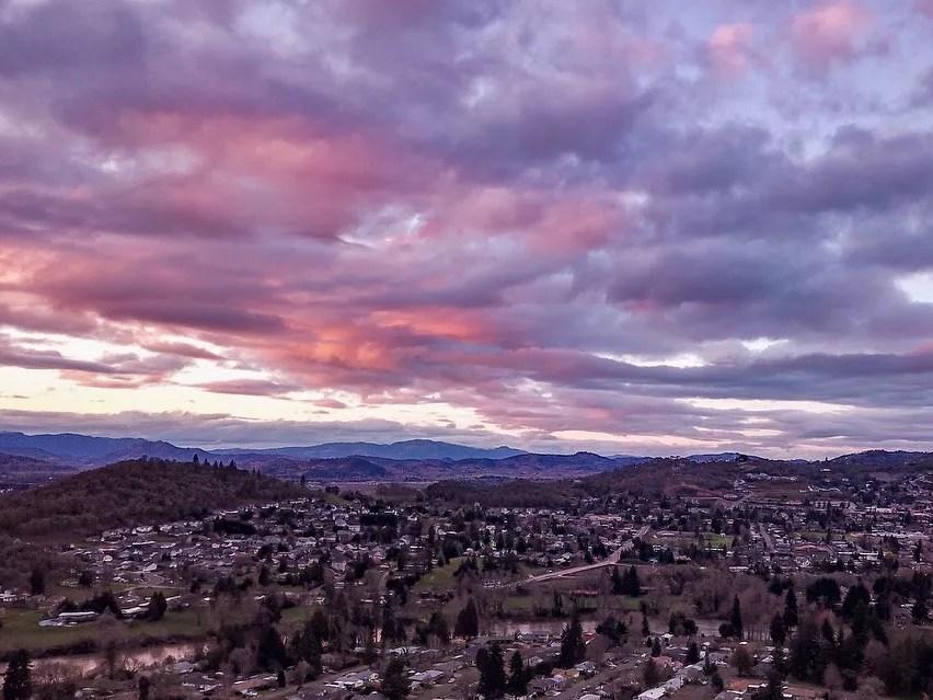 Aerial View of Roseburg, OR. Photo by Instagram user @burtmarketing