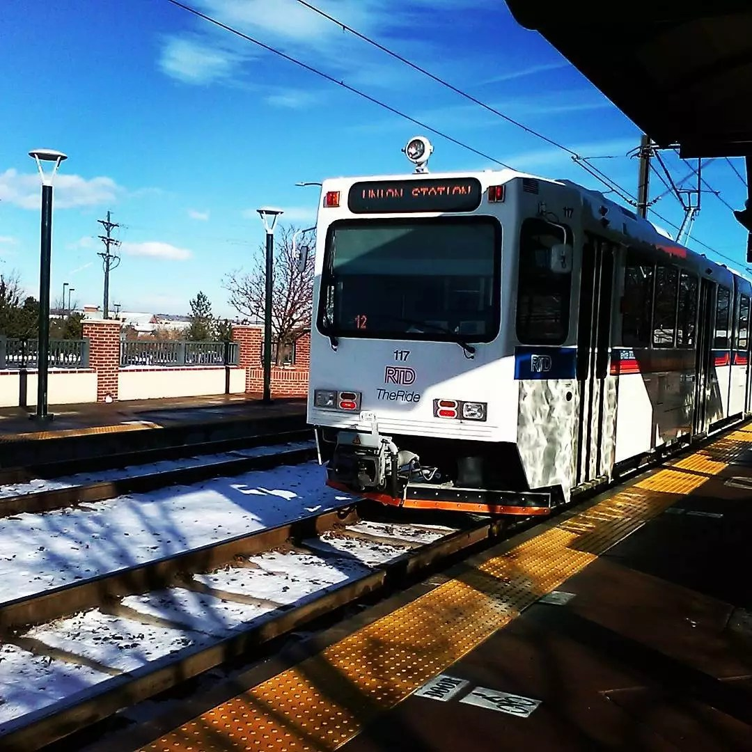 RTD light rail train coming into a station Photo by Instagram user @chewbacca115