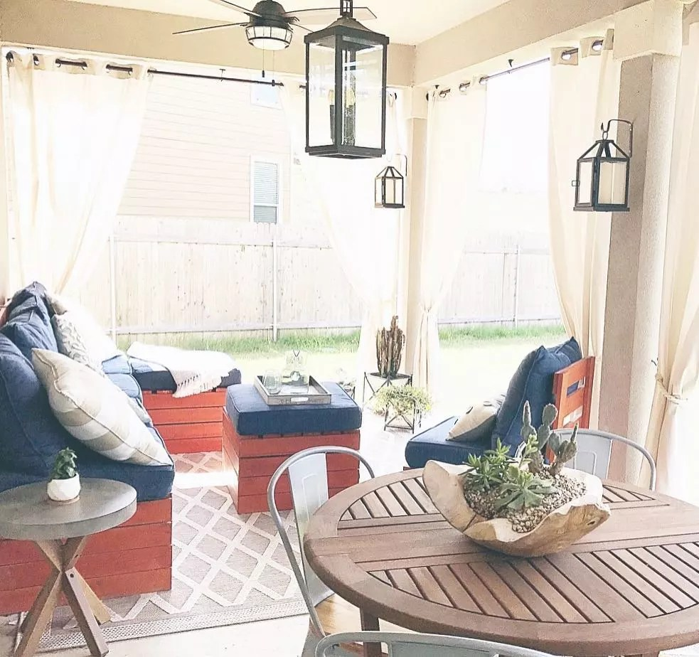 curtains added to outdoor living space area photo by Instagram user @tcbstyle
