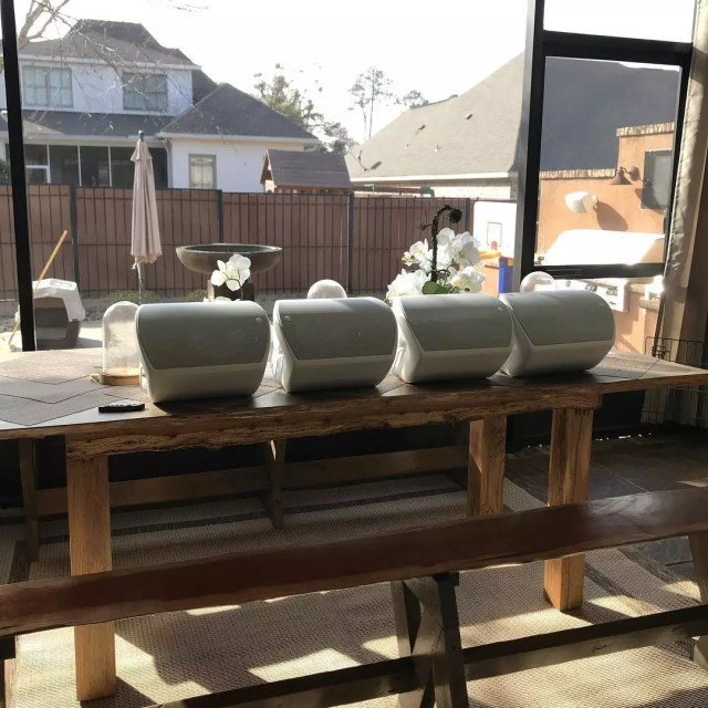 outdoor speakers lined up on a table photo by Instagram user @troy_proguard