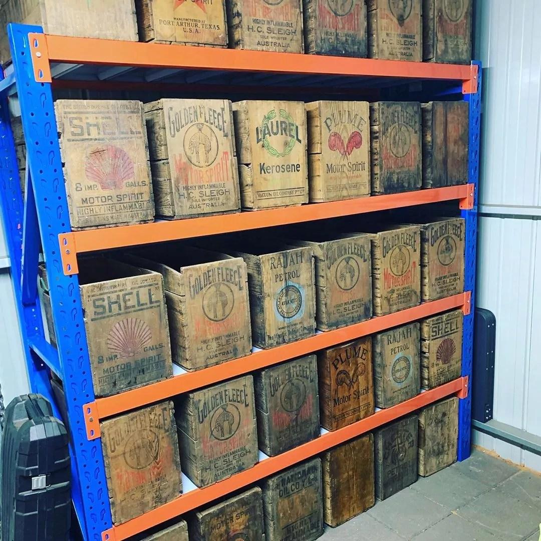 wooden crates stacked on shelves photo by Instagram user @scott_schrapel