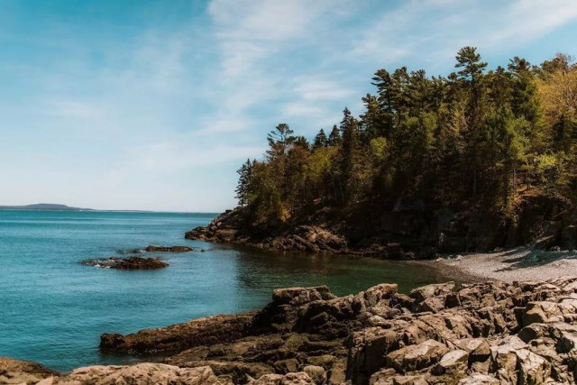 Rocky Beach on Forest on the Edge of Bar Harbor in Maine. Photo by Instagram user @brittneyfairfield