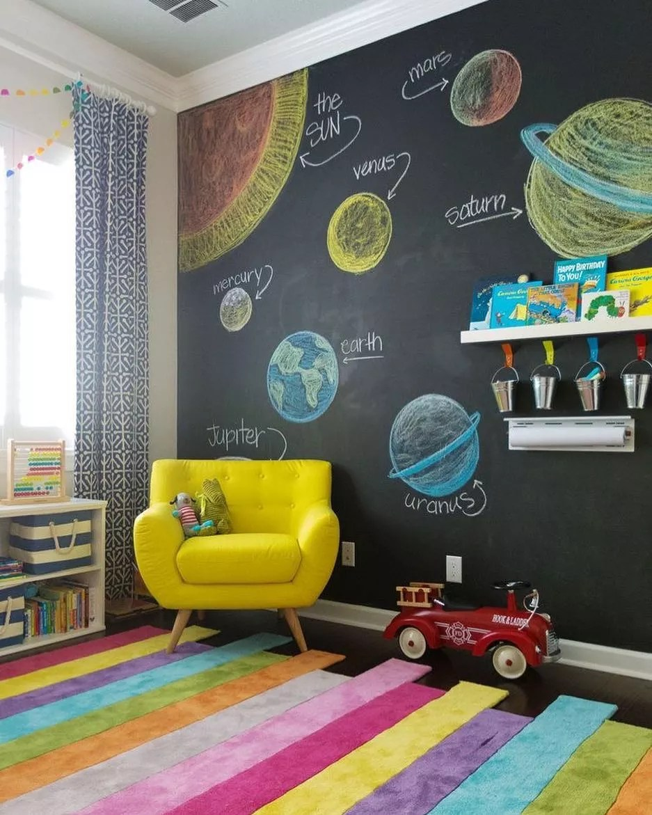 Chalkboard wall with planets on it by a yellow chair. Photo by Instagram user @decodecodeart