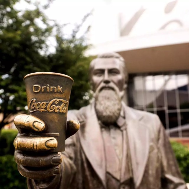 Statue of Dr. Pemberton in front of World of Coca-Cola. Photo by Instagram user @worldofcocacola