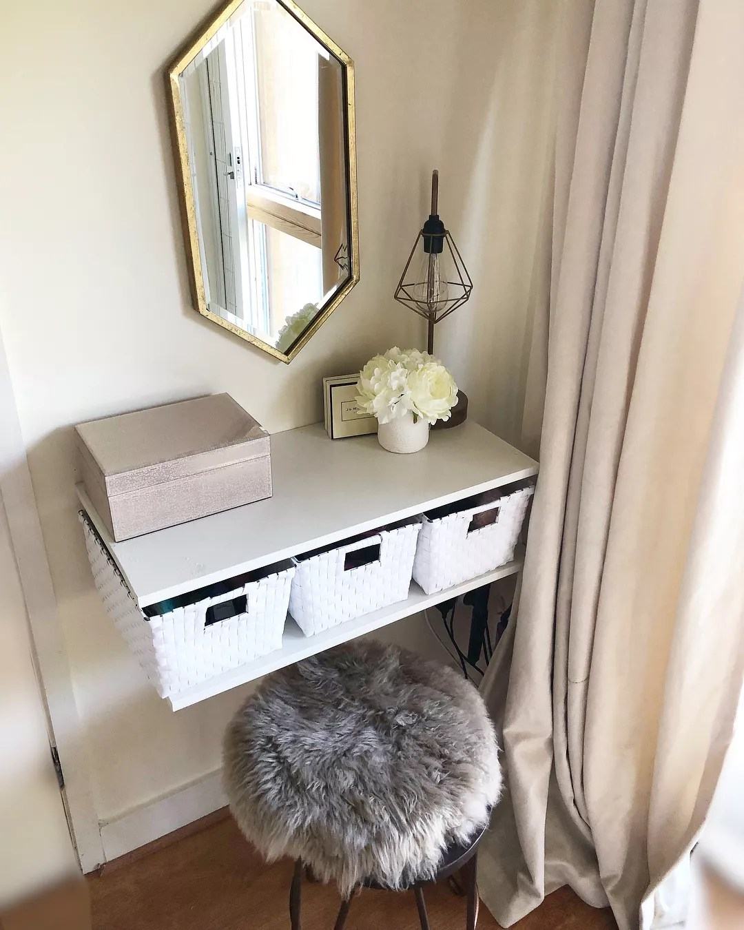 Vanity Set-Up Outside of the Bathroom. Photo by Instagram user @dalyfashionfix