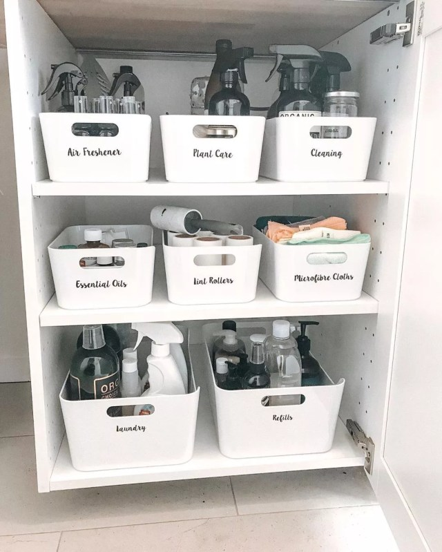 Closet with Bins for Specific Items. Photo by Instagram user @thehousethatjessbuilt
