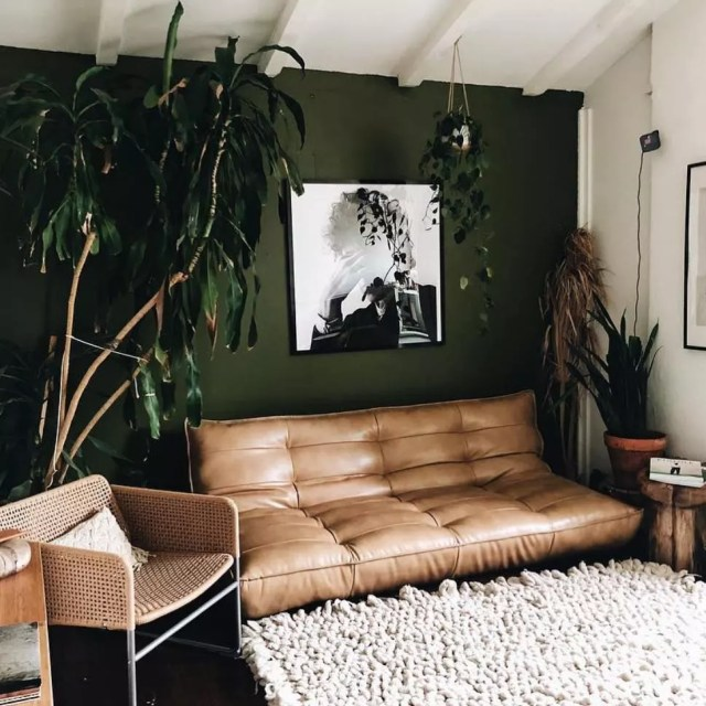 Leather Futon in a Studio Apartment. Photo by Instagram user @urbanoutfittershome