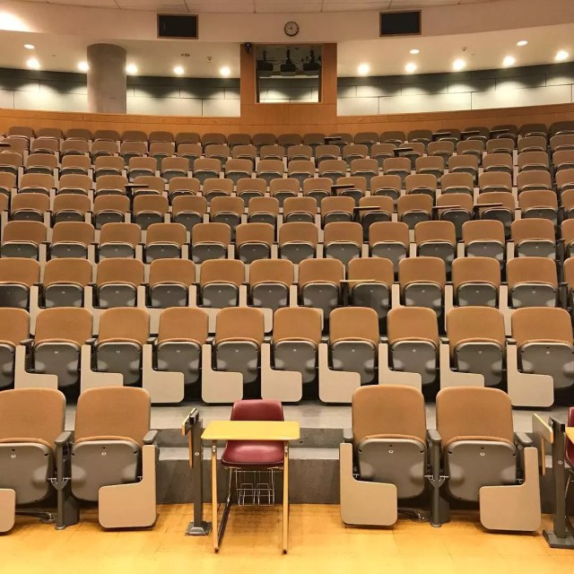 Empty College Lecture Hall. Photo by Instagram user @peerless155