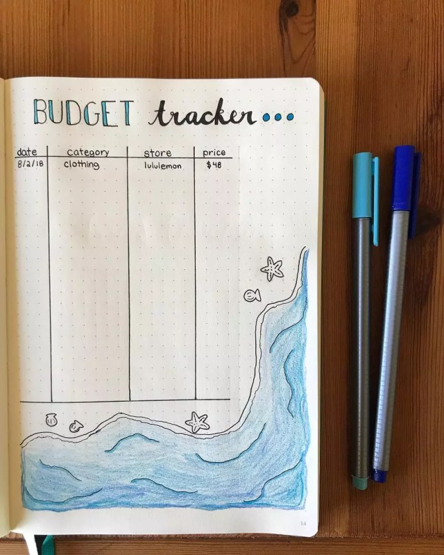 Notebook Being Used as a Budget Planner. Photo by Instagram user @studyinlavender