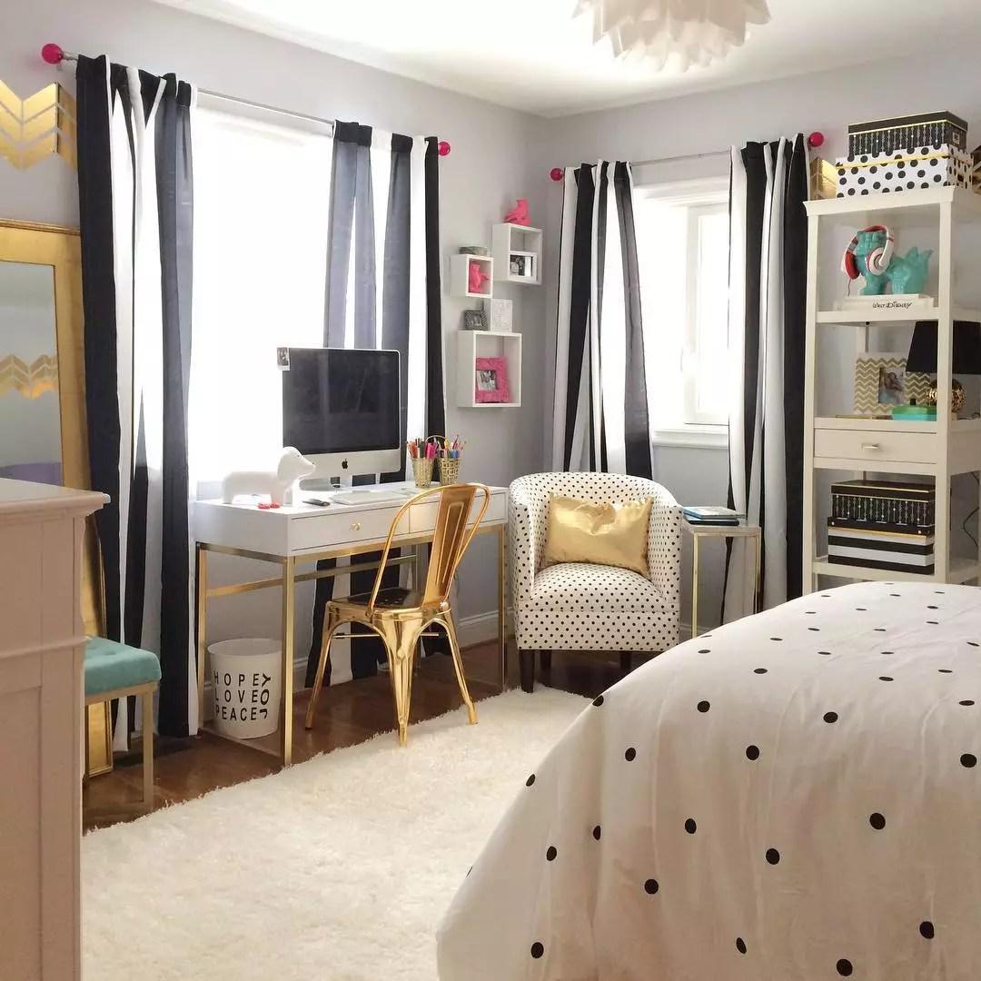 Teen Bedroom with Bold Accent Furniture. Photo by Instagram user @memehillstudio