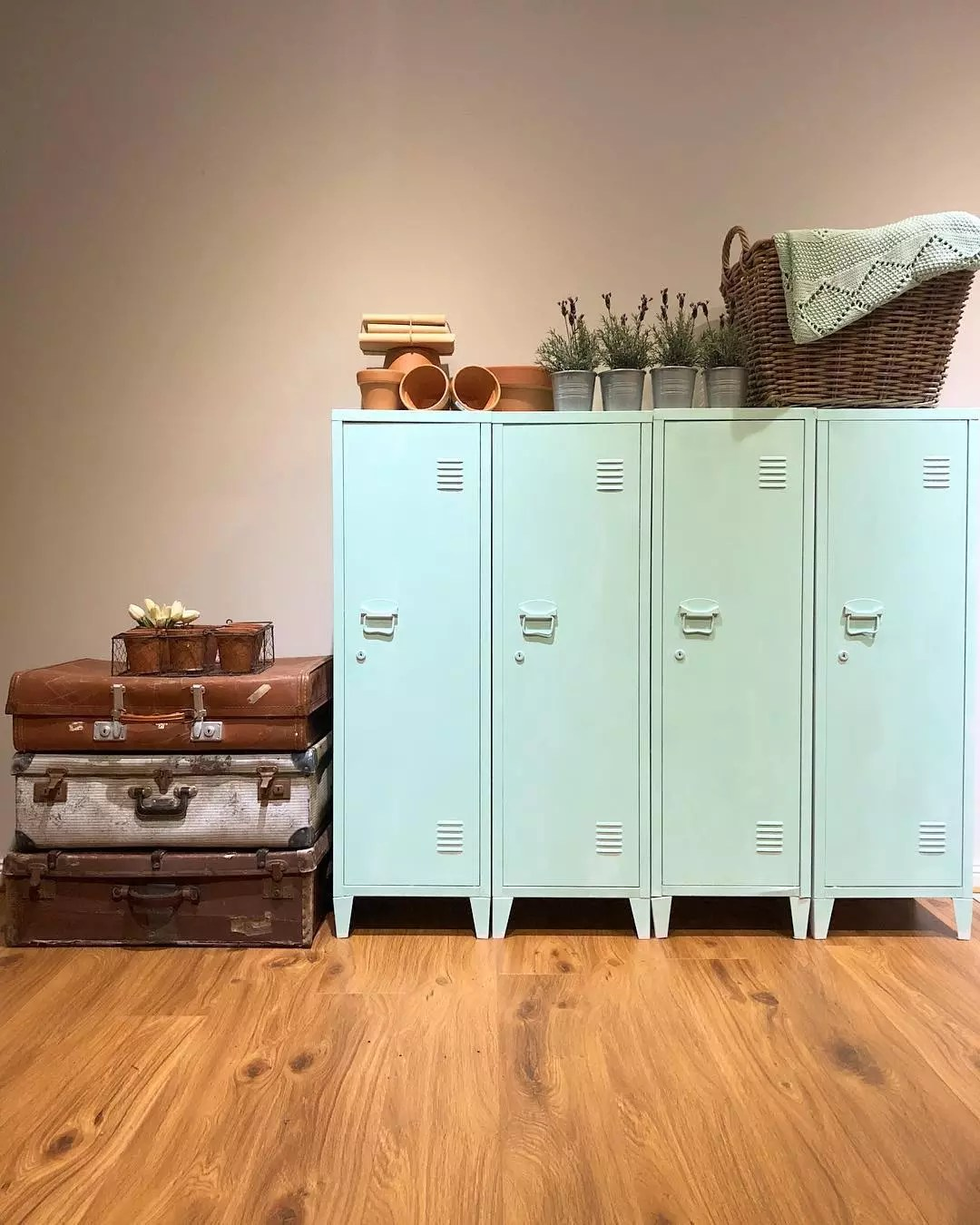 Old Light Blue Lockers Installed in a Basement for Storage. Photo by Instagram user @provincialfarmtouch