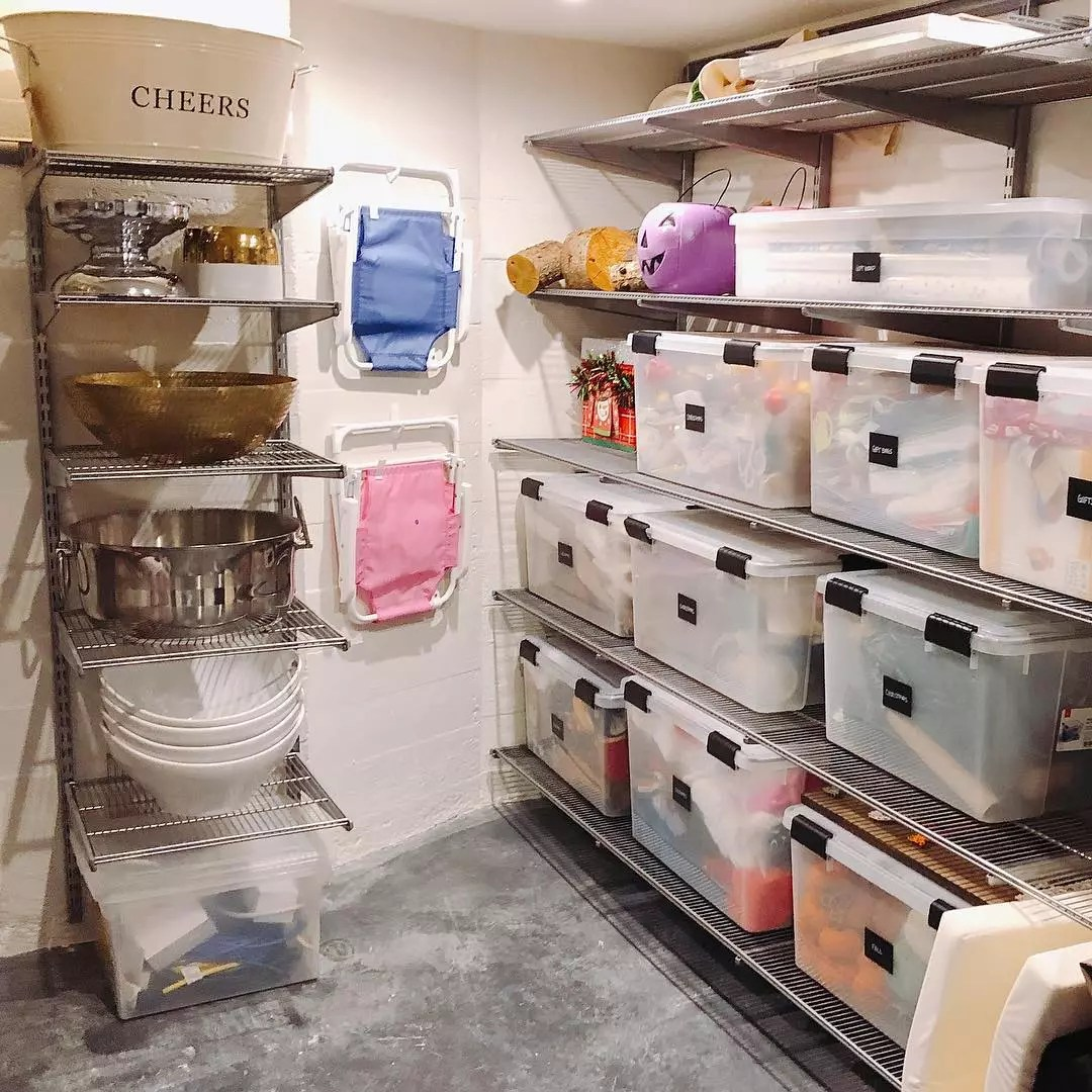 Basement Storage Area Set Up with Moveable Shelving. Photo by Instagram user @riorganize