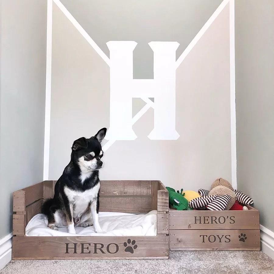 Box Designated for Dog Toys. Photo by Instagram user @corbycraigresidence