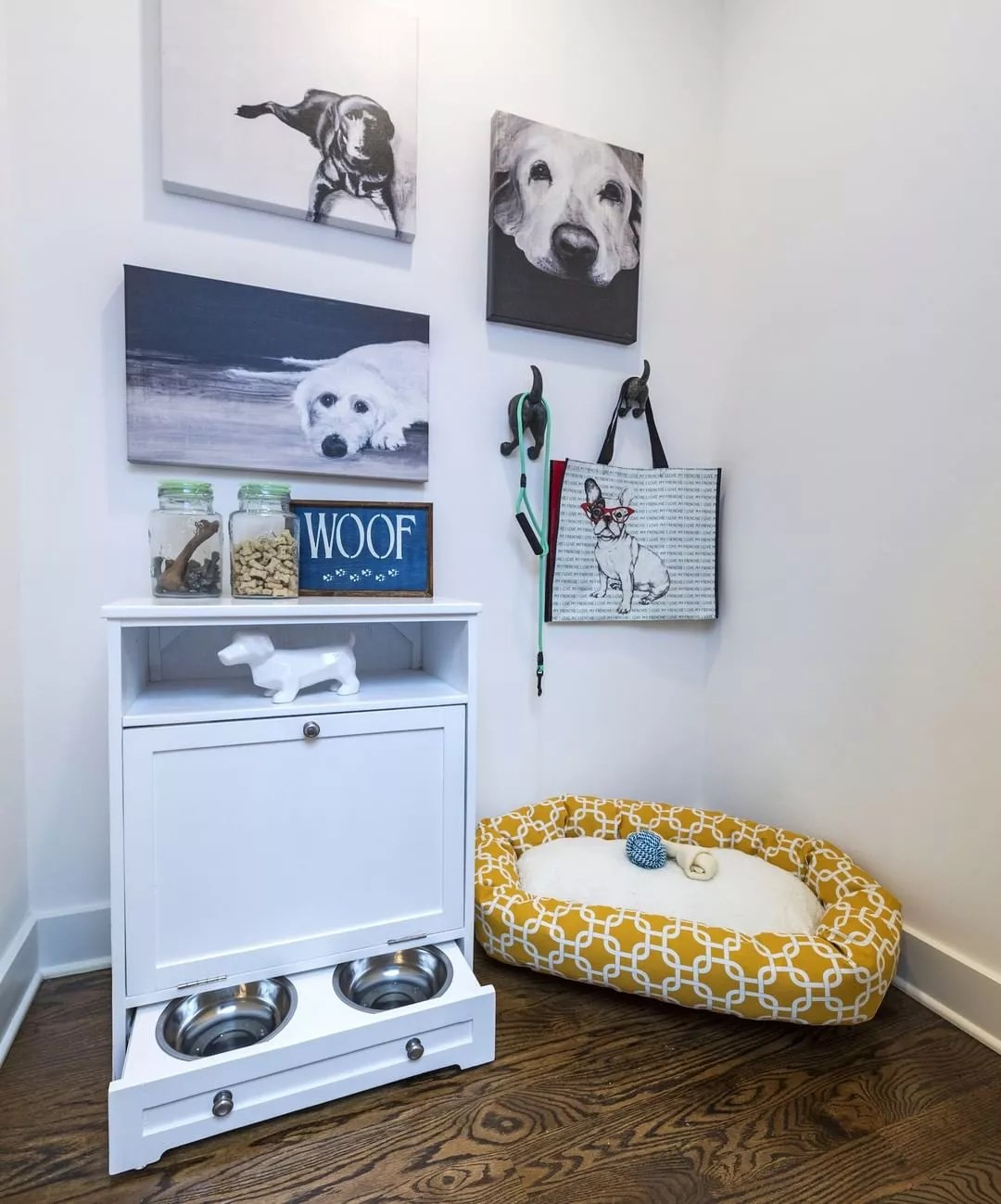 Pet Feeder Built Into Storage Unit. Photo by Instagram user @livejwcollection