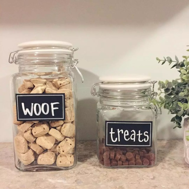 Glass Containers Labeled for Dog Food and Treats. Photo by Instagram user @devanie.mcc