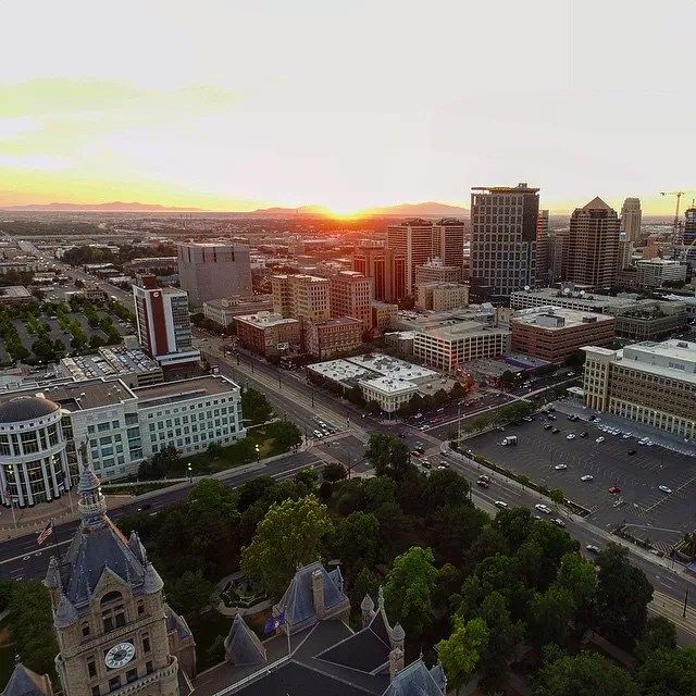 Salt Lake City downtown at sunset from drone photo by Instagram user @dragonfly_ops