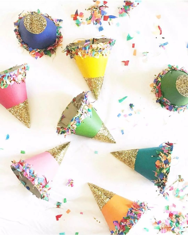 DIY New Years Eve Party Hats. Photo by Instagram user @deetsandthings