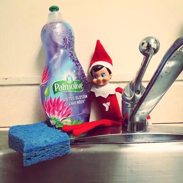 Elf on the Shelf Hidden Behind the Dish Soap Near the Sink. Photo by Instagram user @mvymca